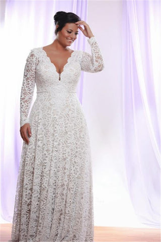 Removable Long Sleeves V Neck Floor Length A Line Lace Plus Size Wedding Dress-715402