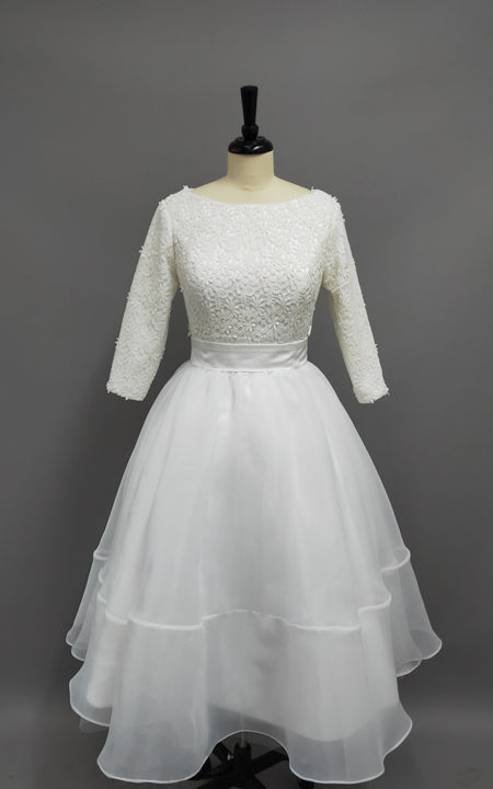 Plus Size Tea Length Lace and Organza Wedding Dresses with 3-4 Long  Sleeves-715428