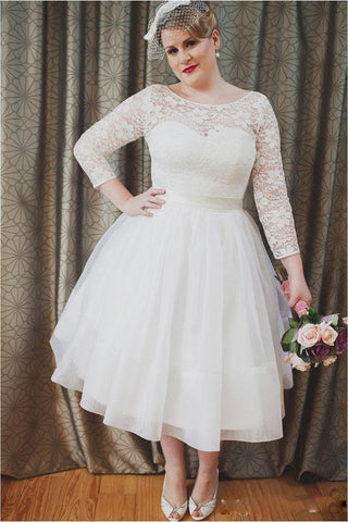 Plus Size Vintage Style Scoop Neckline 3-4 Long Sleeve Lace Tea Length Bridal Gown-715430
