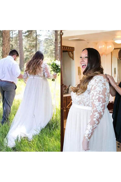 Sexy Plus Size Long Sleeve V Neck Illusion Back Bridal Gown-715439