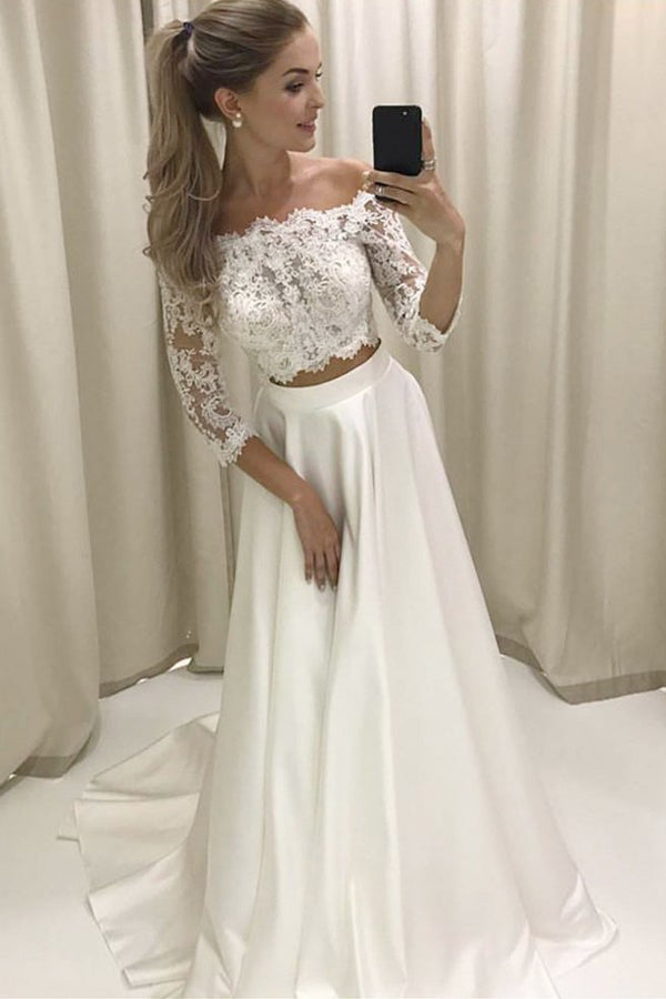 Two Piece Off-the-shoulder Sleeves Satin Wedding Dress with Lace Wedding Dresses-715460