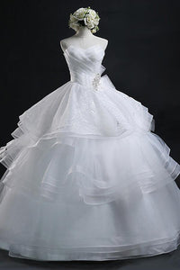 Ball Gown Sweetheart Organza Wedding Dress With Lace-715480