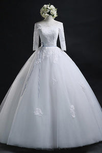 Scoop Ball Gown Bateau Long Tulle Wedding Dress With Lace 715482