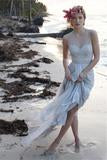 Illusion Neckline Sheer Back Beach Lace Chiffon Wedding Dress-715484