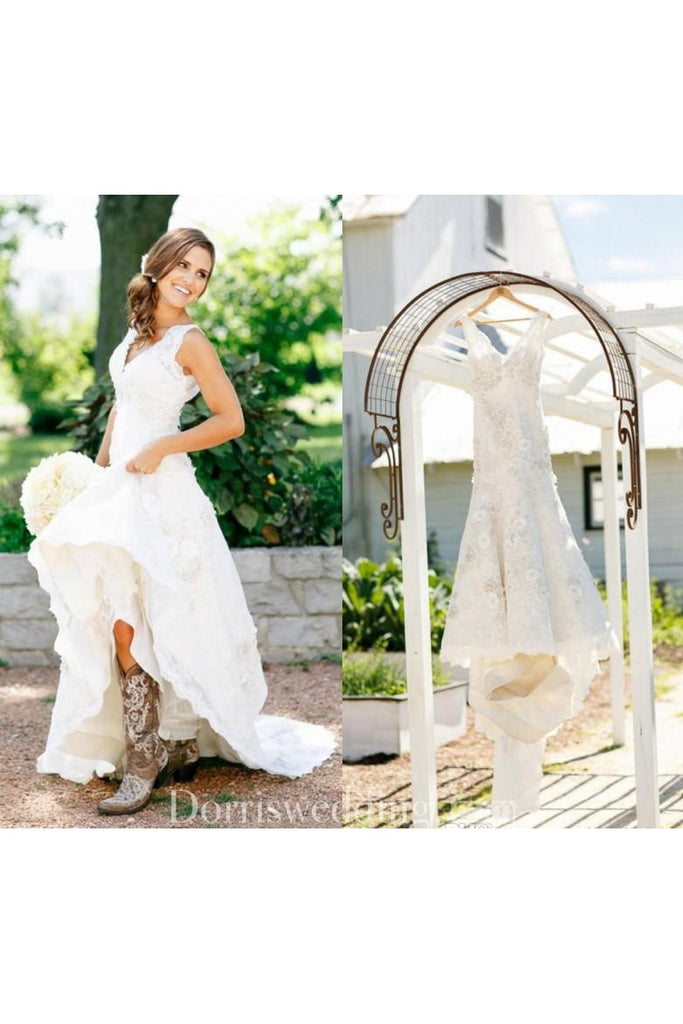 Country Style V Neck Cap Sleeves Boho Layers Sheer Sexy Bridal Gown