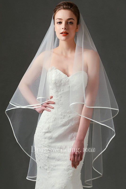 2018 Style Simple Ethereal Two Layered Tulle Wedding Veil