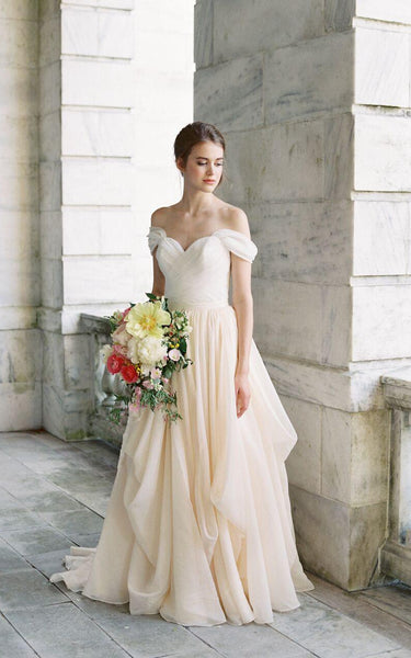 Off-The-Shoulder Drped Floor-Length Criss Cross Dress