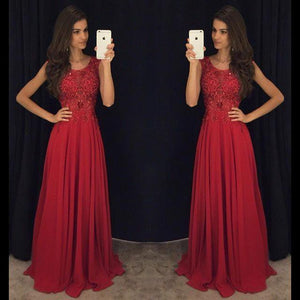 Fit and Flare Sleeveless Red Evening Dresses 2016 Lace Appliques Chiffon