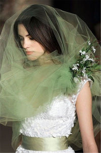 Korean Stylenew Simple Plain Tulle Light Green Photography Bridal Veil