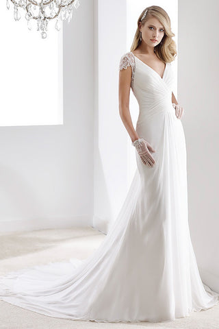 V-Neck Sheath Chiffon Wedding Dress With Bandage Waist And Illusive Sleeves And Back