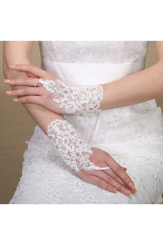 New Lace Sequins Hooks Short Length Strap Gloves-820066