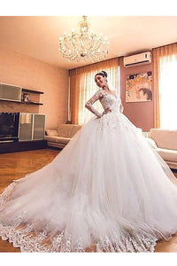 Ball Gown Long Sleeves Lace Tulle V-neck Court Train Wedding Dresses