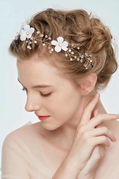 Forest Fairy White Flowers Crystal Garland Headdress-860204