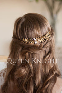 Vintage Western Style Style Golden Olive Leaf Hair Comb-860264