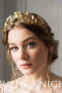 Western Style Vintage Handmade Laurel Olive Gold Hair Hoop Crown-860271