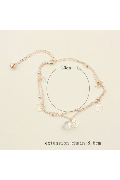 Western Style Foreign Trade New Hollow Rose Crystal Bells Anklets Multi-layer Foot Ornaments-860390