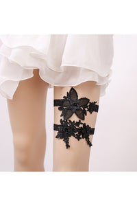 Hot Bridal Garter Black Lace Two Piece Elastic Garter Within 16-23 inches-860487
