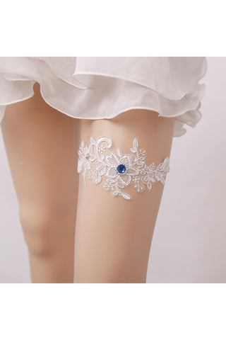 Blue Diamond Lace Applique Elastic Garter Within 16-23inch-860497