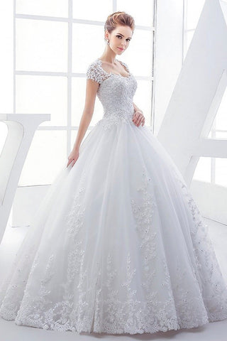 Queen Anne Lace Elegant Wedding Ball Gown Dress With Corset And Keyhole Back