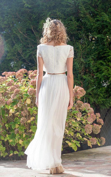 Two Piece Bateau Anckle-Length Chiffon Wedding Dress With Split Front And Pleats