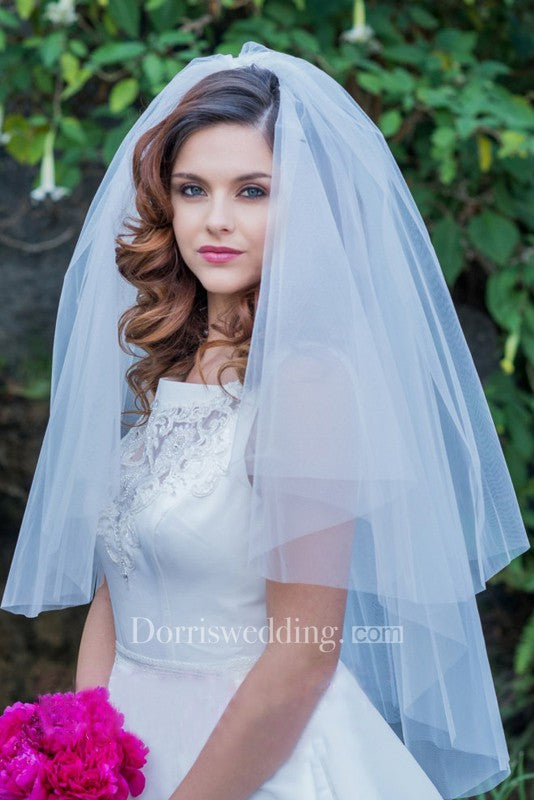 Simple Wedding Veil Short Paragraph Travel Shot Bride Fluffy Romantic Veil