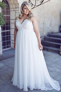 V-Neck Floor-Length Sleeveless Chiffon Plus Size Wedding Dress With Appliques