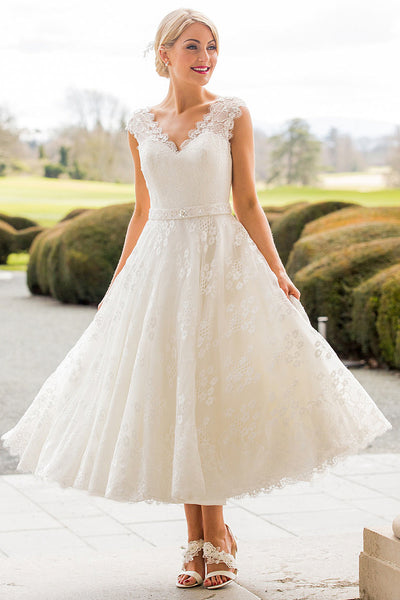 A-Line Tea-Length Appliqued Scalloped Cap Sleeve Lace Wedding Dress