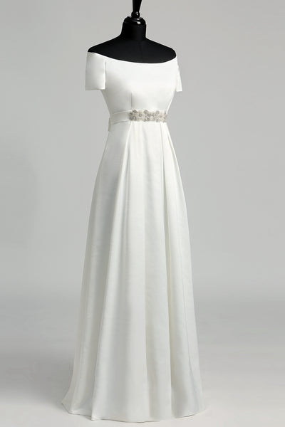 Off-the-shoulder Short Sleeve Empire Beading Pleats Wedding Dress