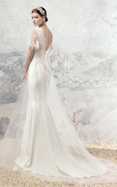 Boho Half Sleeve V-Neck Backless Lace and Tulle Wedding Dress