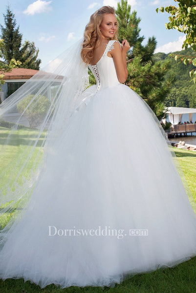 Long Square Beaded Cap-Sleeve Tulle Wedding Dress With Sweep Train And Corset Back