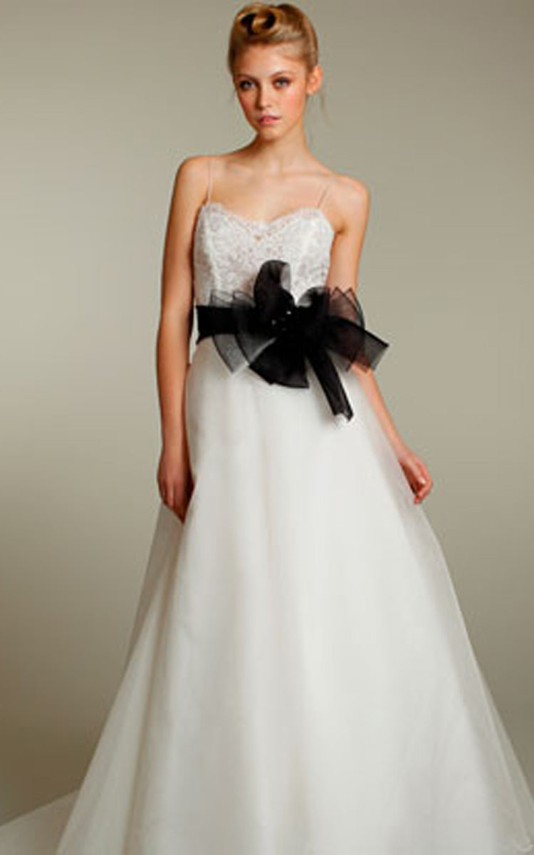 Shimmering Spaghetti Strap Organza a Line Dress With Lace Bodice