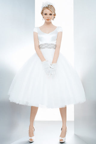 A-Line Tea-Length Cap Sleeve Jeweled V-Neck Tulle Wedding Dress With Bow
