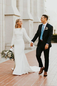 Modest Long Sleeve Satin Wedding Gown With Cathedral Train And Buttons