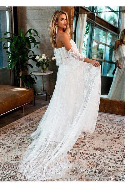 A-Line Tulle Off-The-Shoulder Floor-Length Wedding Dress With Short Sleeve