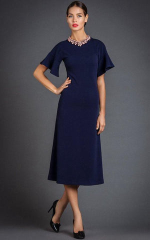 Simple Bell Sleeve A-line Tea-length Dress-ET_329229