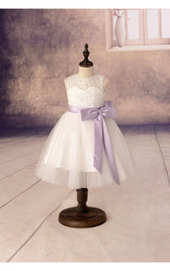 Sleeveless A-line Tulle Flower Girl Dress With Lace Top and Satin Sash-ET_401627