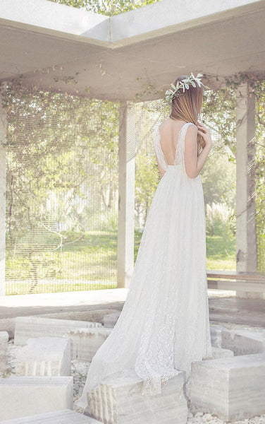 Bohemian Long Lace Wedding Dress With V-Neck-ET_710964
