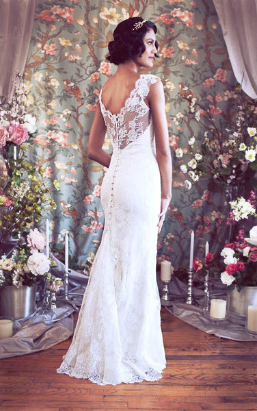 Cap Sleeves Mermaid Lace Wedding Gown With V-Neckline-ET_710975