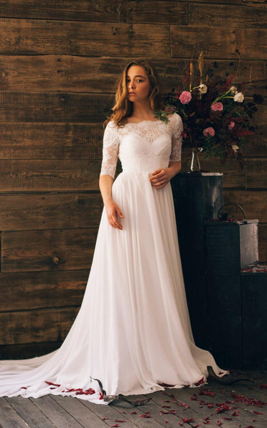 Romantic Style 3 4 Sleeve Long Chiffon Dress With Lace Bodice-ET_711021