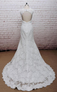 Classic V-Neck Lace Wedding Dress With Empire Waist and Open Back-ET_711085