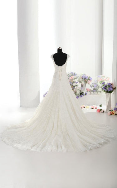 Beautiful Lace Mermaid Wedding Dress With Cap Sleeves Made to Order-ET_711115