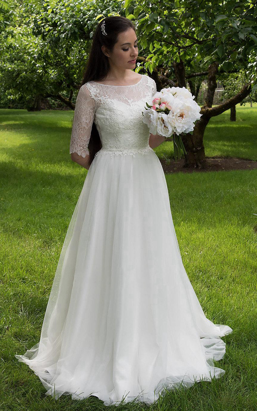 Long A-Line Tulle and Lace Wedding Dress With Elbow Sleeves ...
