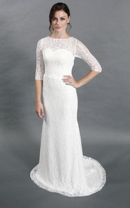 Simple Style Sheath Lace Wedding Dress With Half Sleeves-ET_711166