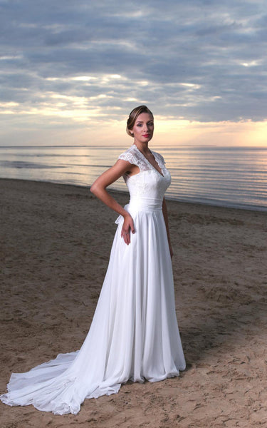V-Neck Long A-Line Chiffon and Lace Wedding Dress With Cap Sleeves-ET_711222