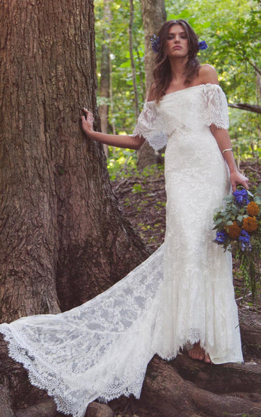 Boho Off-Shoulder Sheath Scalloped Lace Wedding Dress With Long Train-ET_711235