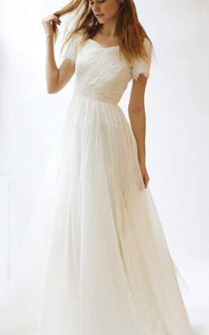Short Sleeve V-Neck A-Line Lace and Tulle Dress With Pleats-ET_711267