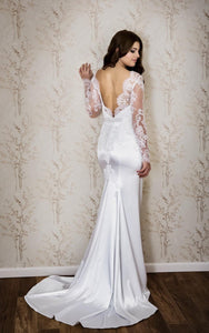 Sexy Bateau Neck Long Sleeve Mermaid Satin Wedding Dress With Lace-ET_711344
