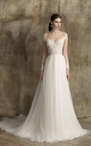 V-Neck A-Line Tulle Wedding Dress With Lace Bodice-ET_711348
