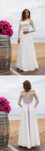Off-Shoulder Long Sleeve Closed Sheer Back Wedding Dress With Chiffon Skirt-ET_711369
