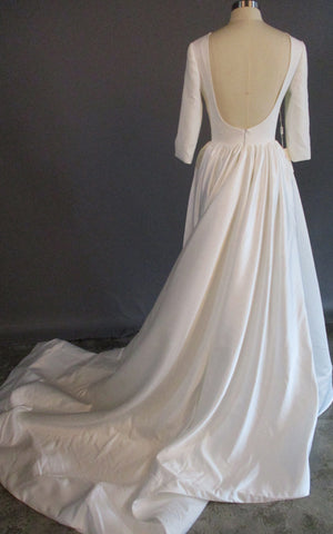Modern Simple Long Sleeve A-Line Satin Wedding Dress With Open Back-ZET_711539
